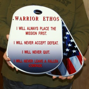 ARMED SERVICE DOG TAG -WARRIOR ETHOS- STEEL SIGN
