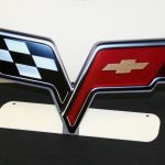 CORVETTE C6 CROSS FLAGS EMBLEM FREE STANDING Metal Sign