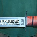 KA-BAR METAL SIGN WITH OFFICER GLOBE AND ANCHOR 36x7