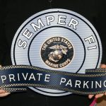 MARINE SEMPER FI - STEEL MANCAVE BRONZE PRIVATE PARKING SIGN
