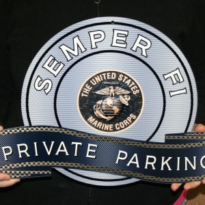 MARINE SEMPER FI – STEEL MANCAVE BRONZE PRIVATE PARKING SIGN