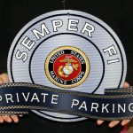 MARINE SEMPER FI WCOLORED LOGO -MANCAVE PRIVATE PARKING SIGN
