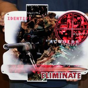SNIPER -IDENTIFY-ACQUIRE-ELMINATE METAL SIGN 16X14