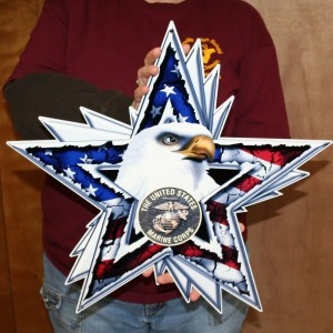 UNITED STATES MARINES EAGLE STAR WITH BRONZE LOGO 19X18