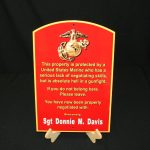 USMC BRONZE CUSTOMIZED FLAT METAL WARNING SIGN WITH NAME