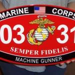 USMC CUSTOM MOS METAL SIGN