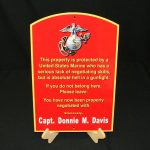 USMC CUSTOMIZED FLAT METAL WARNING SIGN WITH NAME