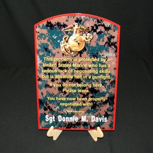USMC CUSTOMIZED FLAT METAL WARNING SIGN WITH NAME (MCENNTGR CUSTOM)