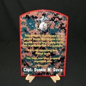 USMC CUSTOMIZED FLAT METAL WARNING SIGN WITH NAME camo
