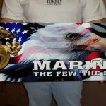 USMC ENLISTED EGA WITH FLAG AND EAGLE METAL SIGN 35x12