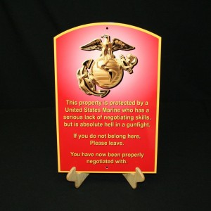 USMC ENLISTED METAL SIGN SEMPER FI WARNING SIGN