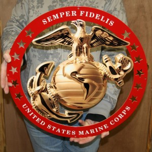 USMC GLOBE AND ANCHOR ENLISTED METAL SIGN 19×19