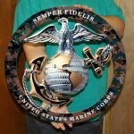 USMC GLOBE AND ANCHOR METAL SIGN SEMPER FI 19x19
