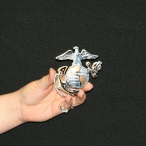 USMC OFFICER GLOBE AND ANCHOR METAL SIGN 4X4 WMAGNET ON BACK