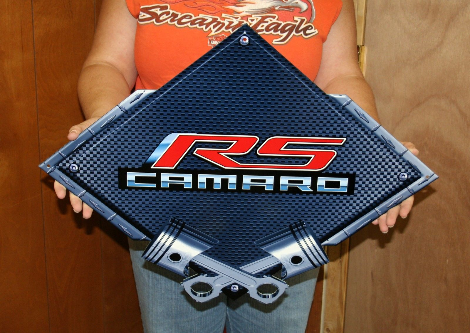BLACK CARBON FIBER DIAMOND- CROSSED PISTONS STEEL SIGN-BLCAM17