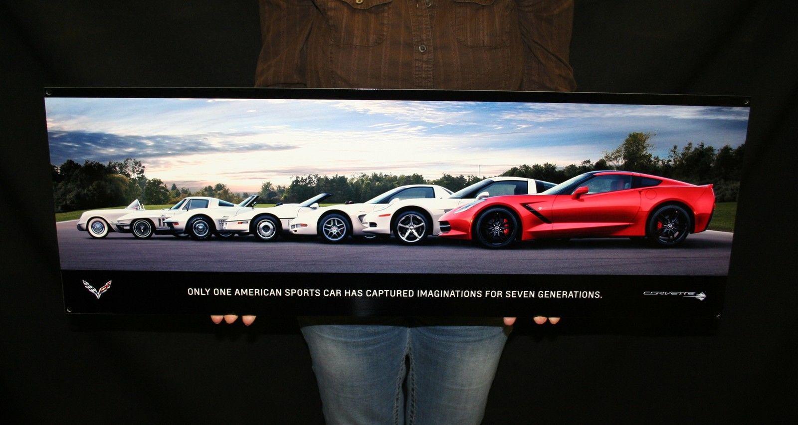 Chevrolet Corvette Metal Sign C7 2014 Generations Poster