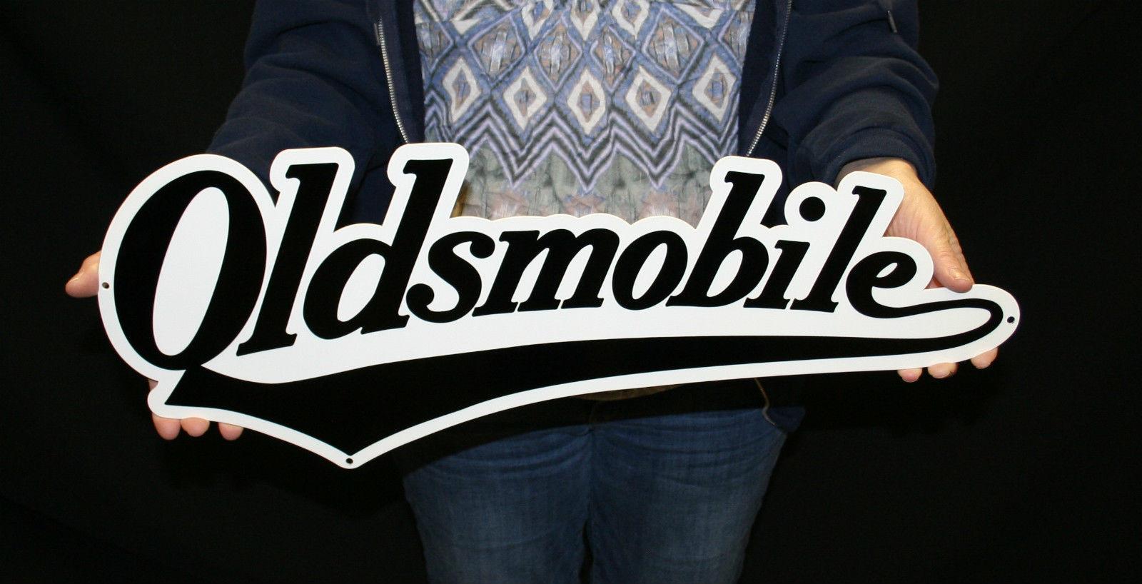 Oldsmobile Vintage Script Steel Sign Gmolds003 24x9