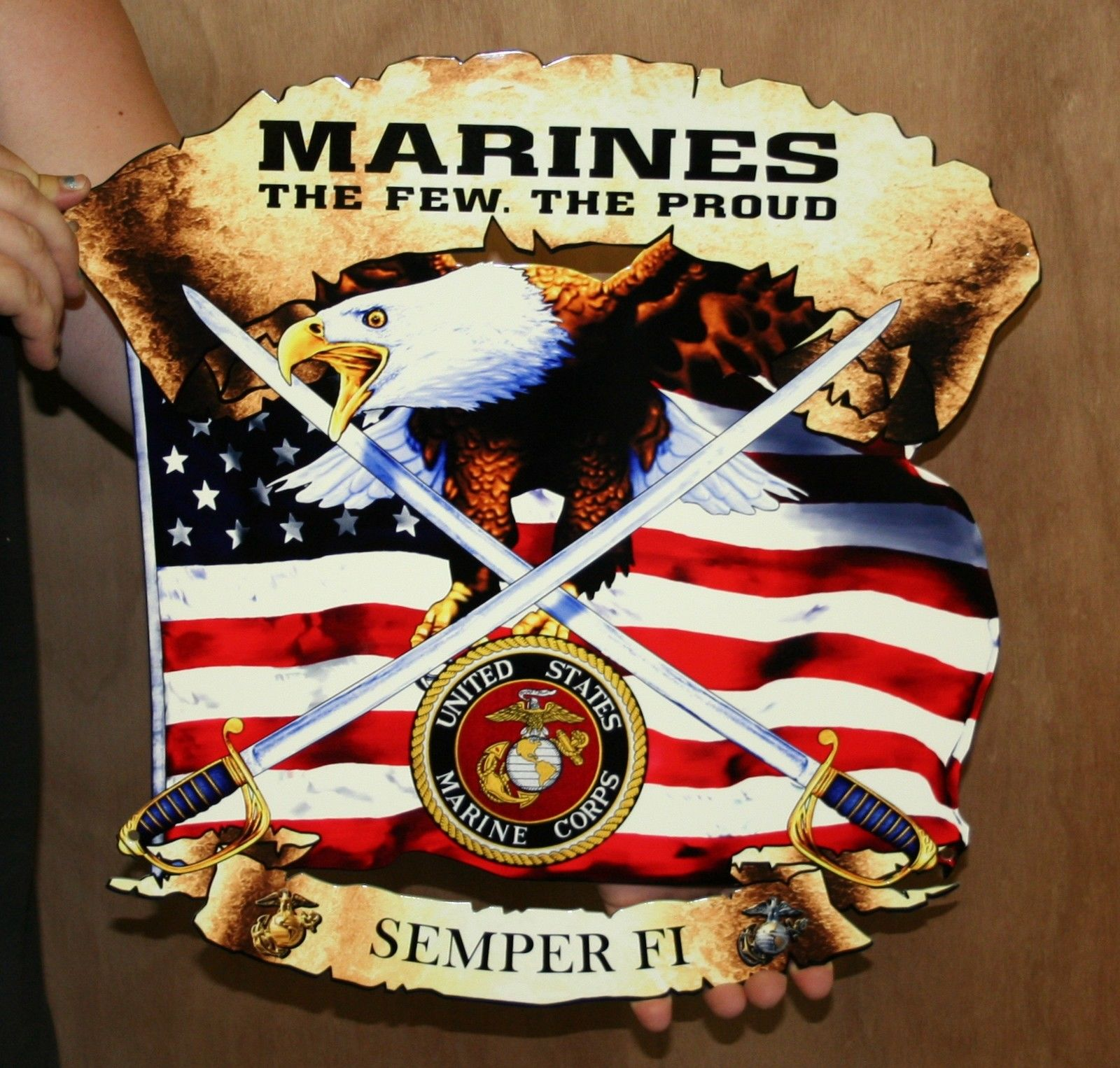 USMC FLAG MANCAVE METAL SIGN WITH LOGOS SEMPER FI | Custom ...
